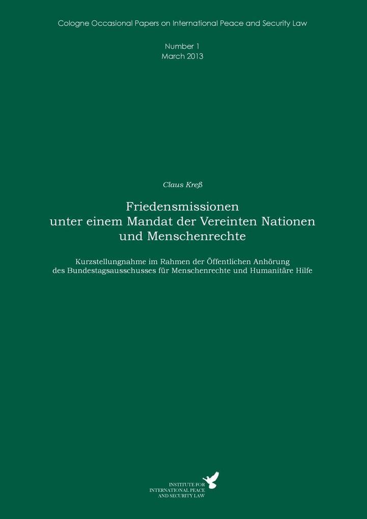 Friedensmissionen unter einem Mandat der Vereinten Nationen und Menschenrechte als eBook