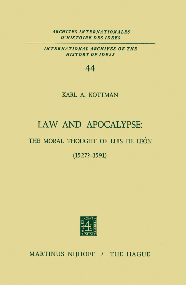 Law and Apocalypse: The Moral Thought of Luis De León (1527?-1591) als Buch