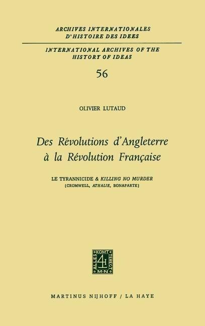 Des révolutions d'Angleterre à la Révolution française als Buch