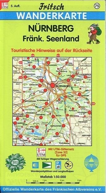 Nürnberg, Fränkisches Seenland 1 : 50 000. Fritsch Wanderkarte als Buch