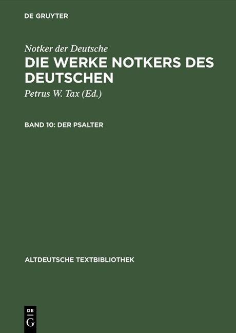 Die Werke Notkers des Deutschen - Der Psalter als eBook