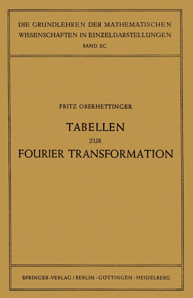 Tabellen zur Fourier Transformation als Buch