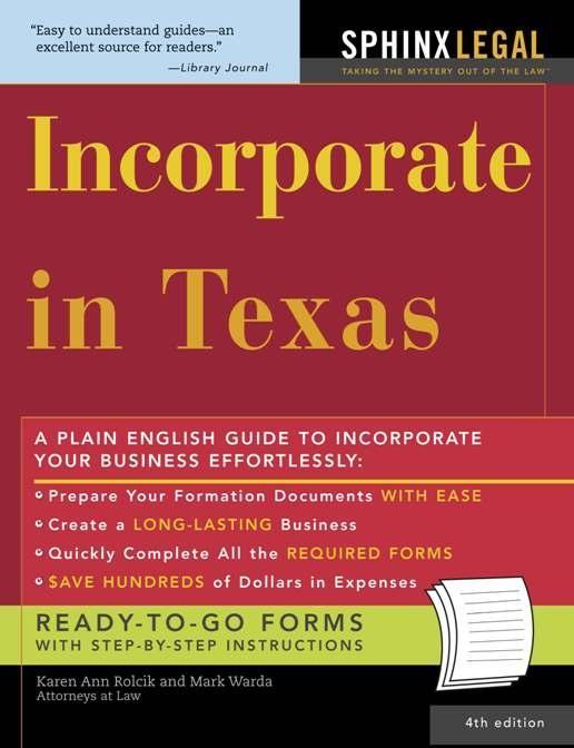 Incorporate in Texas als eBook von Mark Warda