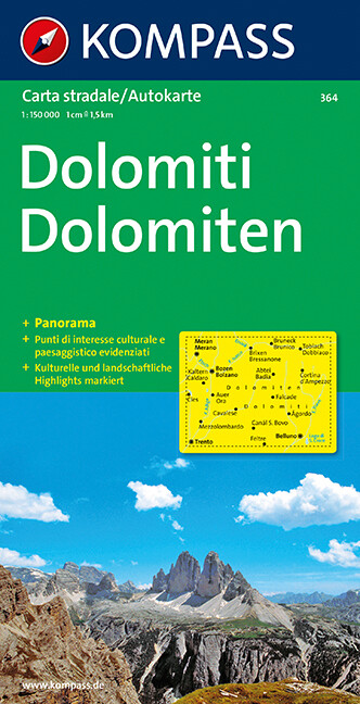 Dolomiten 1 : 150 000. Autokarte mit Panorama als Buch