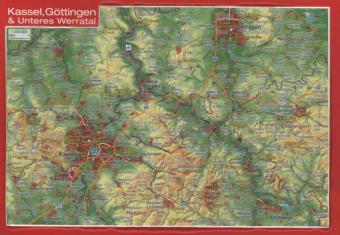 Reliefpostkarte Kassel, Göttingen & Unteres Wer...