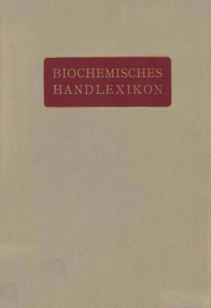 Biochemisches Handlexikon als Buch