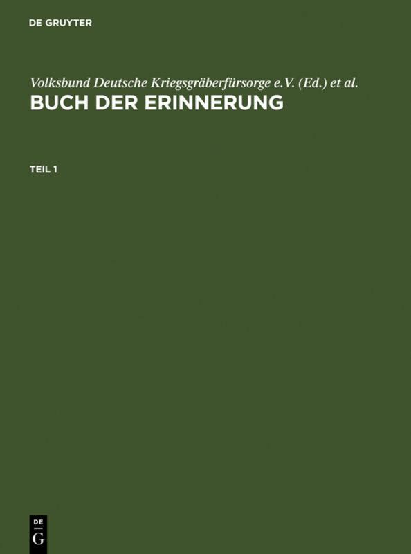 Buch der Erinnerung / Book of Remembrance als Buch