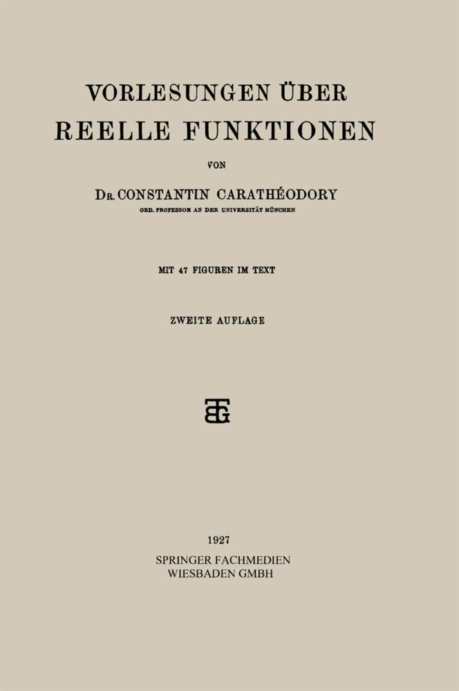 Vorlesungen Über Reelle Funktionen als Buch