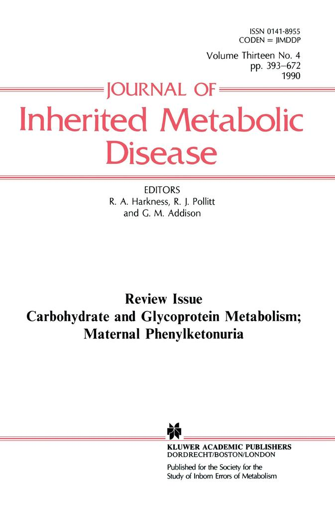 Carbohydrate and Glycoprotein Metabolism; Maternal Phenylketonuria als Buch