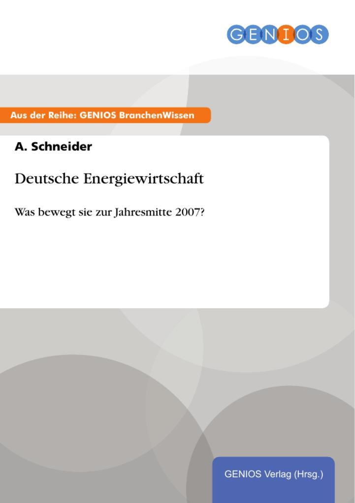 Deutsche Energiewirtschaft als eBook von A. Sch...