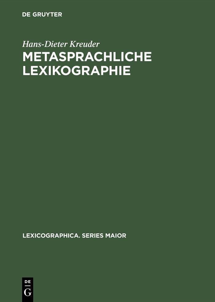 Metasprachliche Lexikographie als eBook pdf