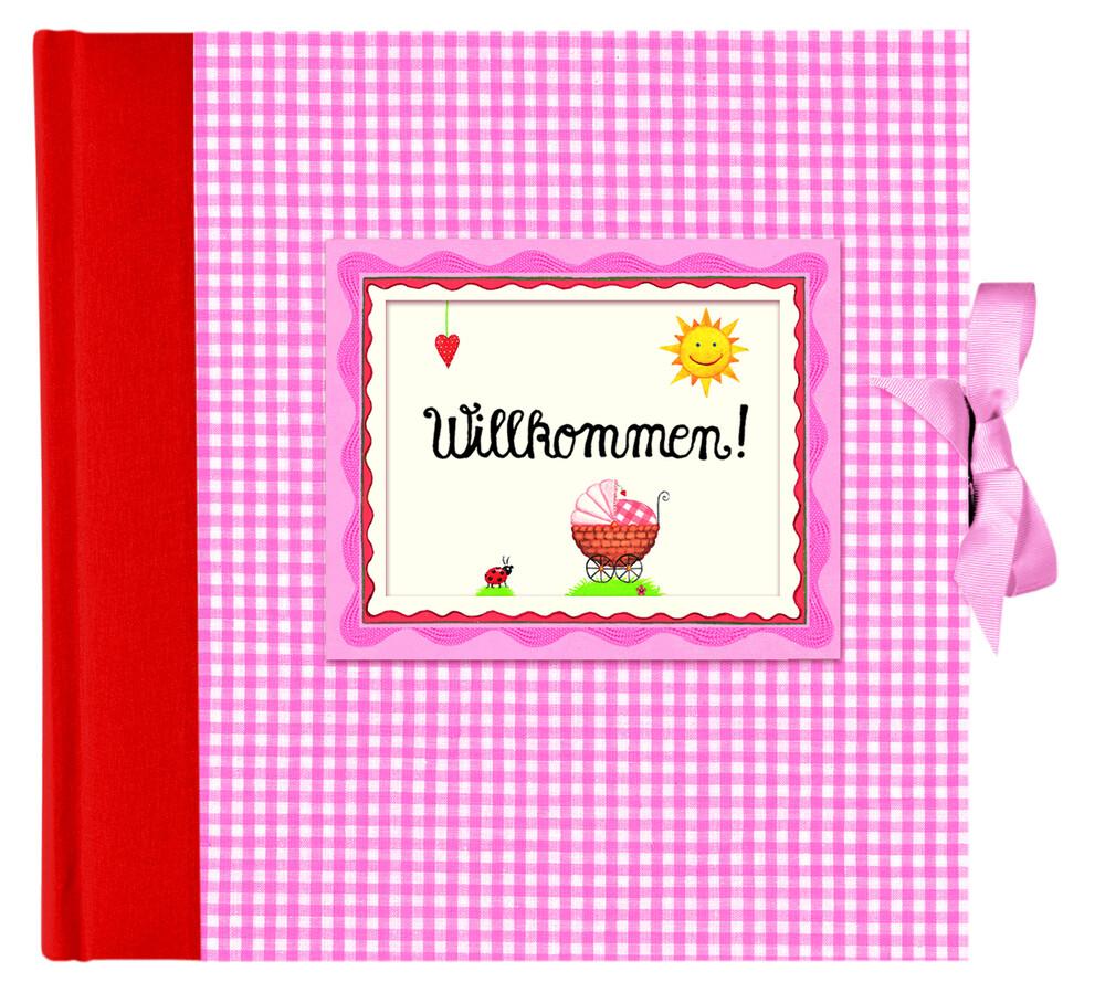 Willkommen! Babyalbum rosa als Buch