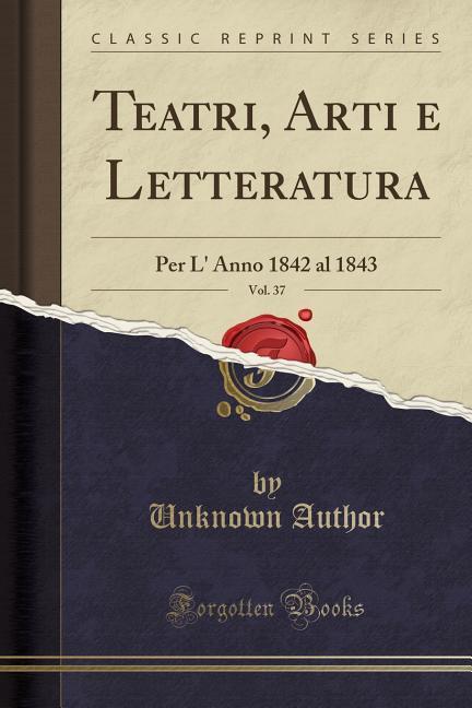 Teatri, Arti e Letteratura, Vol. 37 als Taschen...