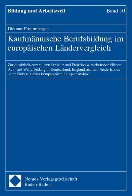 Kaufmännische Berufsbildung im europäischen Ländervergleich als Buch