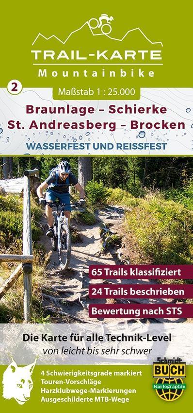 MTB (Mountain-Bike) Trail-Karte Harz 2: Braunla...