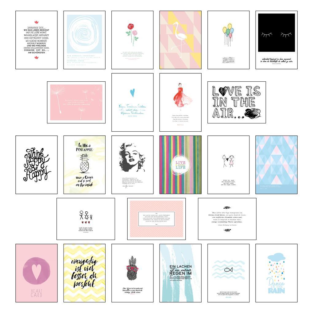 Postkarten Set - Postkarten Sprüche mit 25 hochwertigen versch. liebevollen Motiven und wunderschönen Sprüchen und Zitaten als sonstige Artikel