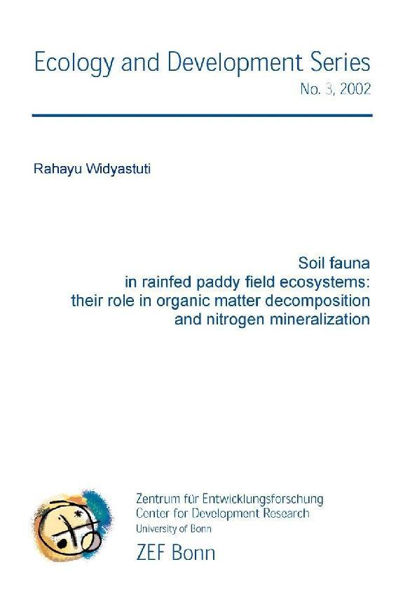 Soil fauna in rainfed paddy field ecoystems: their role in organic matter decomposition and nitrogen mineralization als eBook