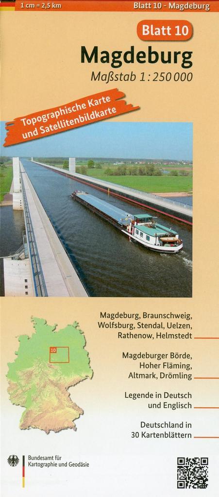 Magdeburg Umgebungskarte mit Satellitenbild 1:250.000 als Buch
