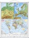 Deutschsprachige Länder, Europa und die Welt, physisch. Großformat mit Metallstäben