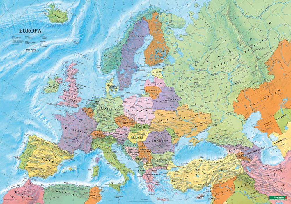 Europa politisch, Poster 1:6 000 000 Plano in Rolle als Buch von