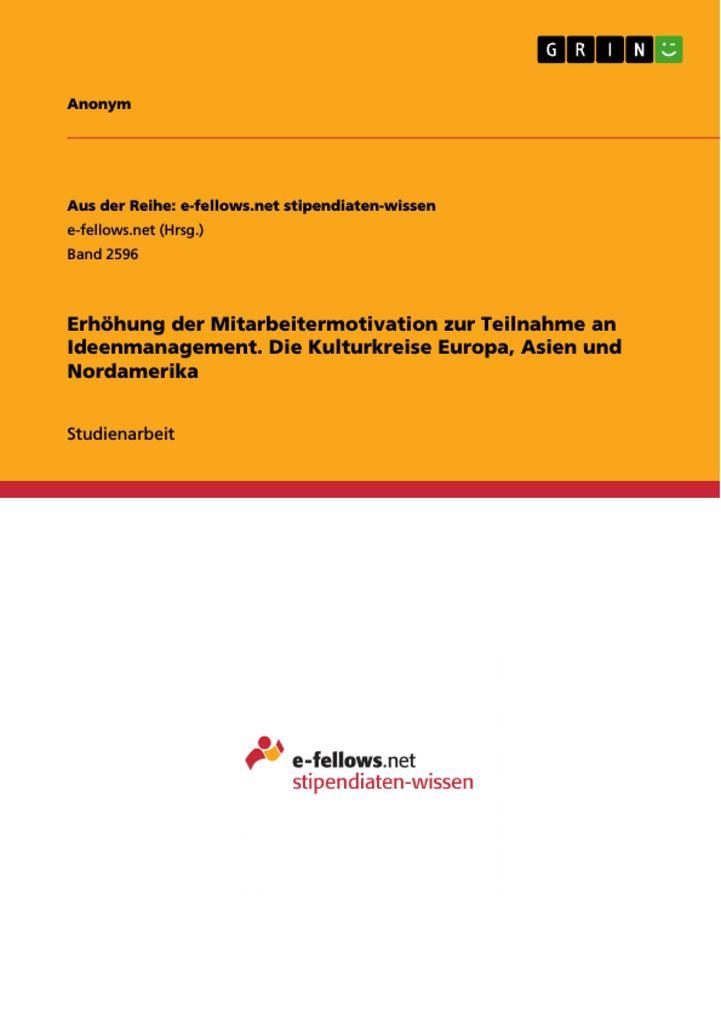 Erhöhung der Mitarbeitermotivation zur Teilnahme an Ideenmanagement. Die Kulturkreise Europa Asien und Nordamerika