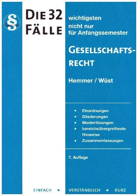 32 Fälle Gesellschaftsrecht als Buch von Karl-Edmund Hemmer, Achim Wüst
