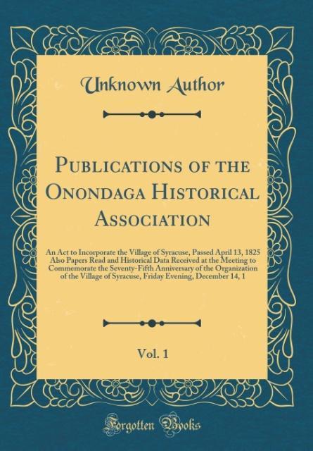 Publications of the Onondaga Historical Associa...
