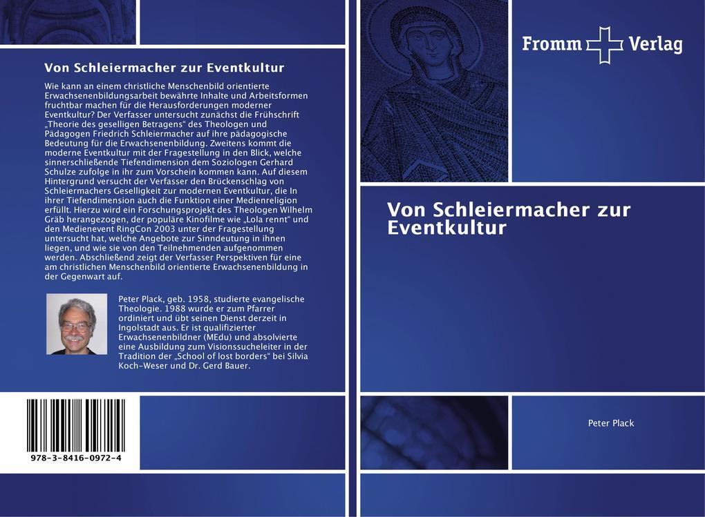 Von Schleiermacher zur Eventkultur als Buch von Peter Plack
