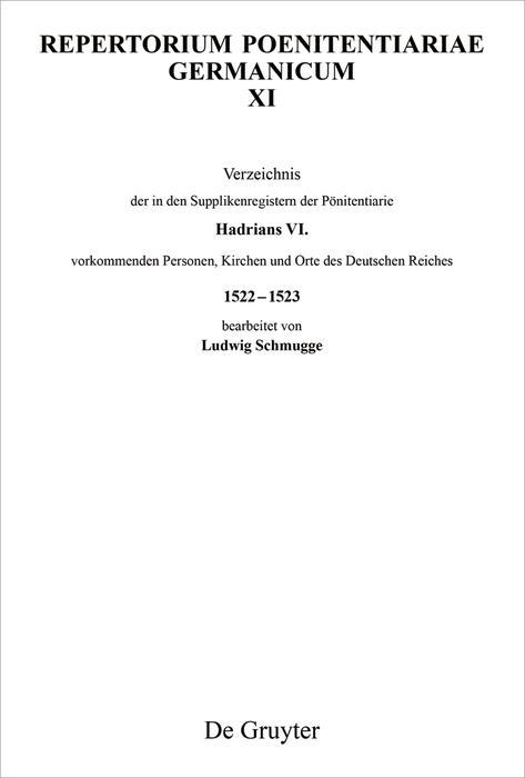Verzeichnis der in den Supplikenregistern der Pönitentiarie Hadrians VI. vorkommenden Personen, Kirchen und Orte des Deutschen Reiches 1522-1523 als eBook