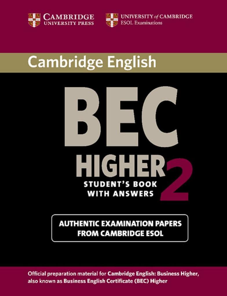 Cambridge BEC Higher 2. Students Book with answers als Buch (kartoniert)