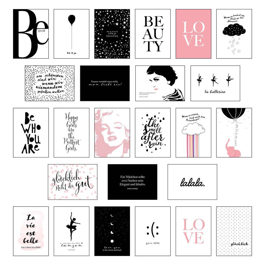 Schönes Postkarten Set mit 25 modernen und stylishen Postkarten zum Dekorieren oder Verschenken. Feminine Bilder, Sprüche und Statements für Frauen. Hochwertige Spruchkarten in dekorativer Box. als sonstige Artikel