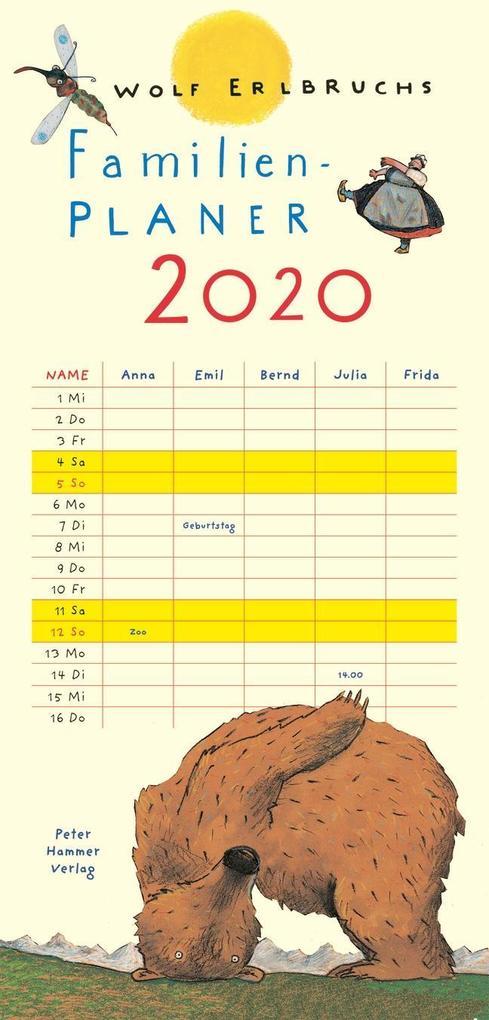 Wolf Erlbruchs Familienplaner 2020 als Kalender