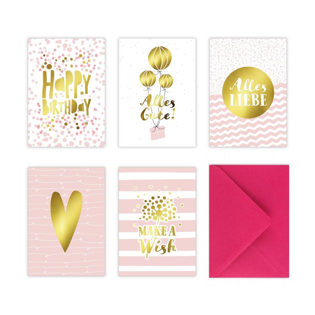 5 Geburtstagskarten im Set inkl. Umschläge in pink. Rosa Glückwunschkarten zum in DIN A6 mit edler Folienprägung in Gold. Klappkarten zum Geburtstag, Hochzeit, Geburt, Firmung, Konfirmation als sonstige Artikel