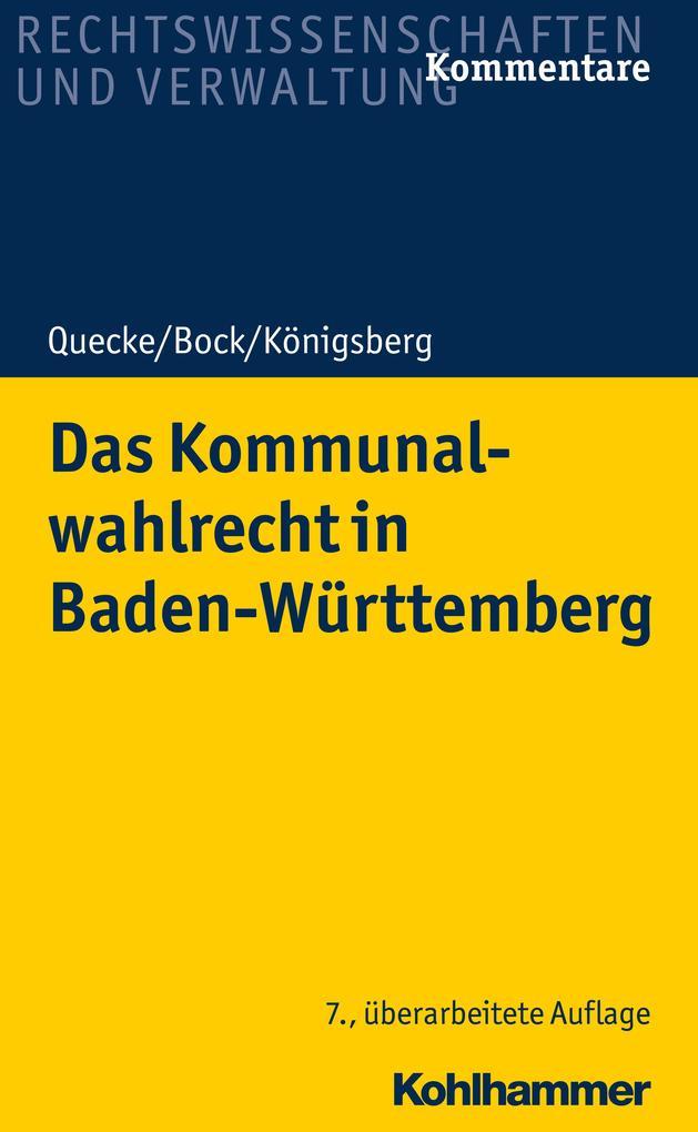Das Kommunalwahlrecht in Baden-Württemberg als eBook
