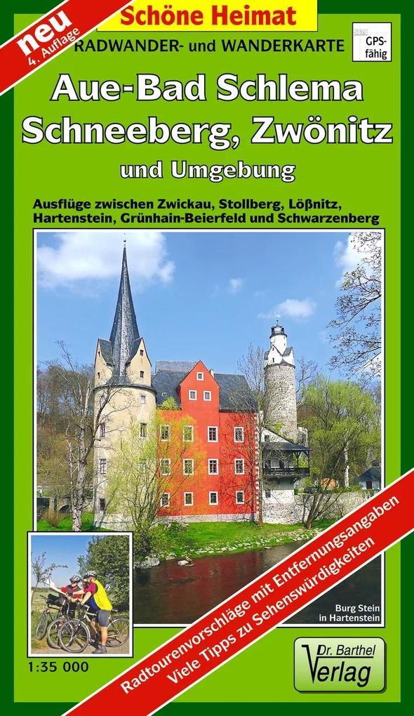 Radwander- und Wanderkarte Aue, Schneeberg, Löß...