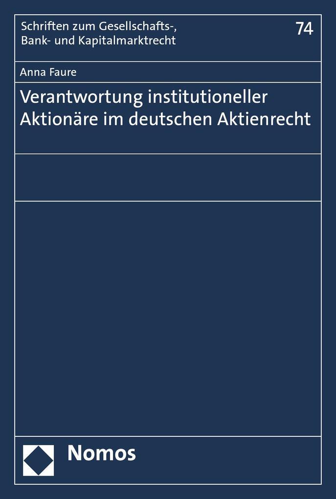 Verantwortung institutioneller Aktionäre im deutschen Aktienrecht als eBook