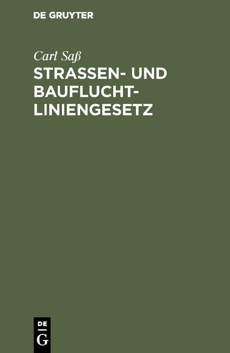 Strassen- und Baufluchtliniengesetz als eBook