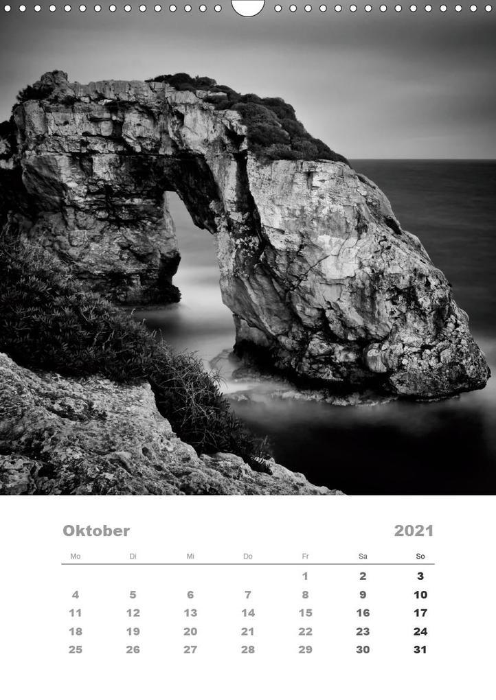 mallorca in schwarz weiss wandkalender 2021 din a3 hoch