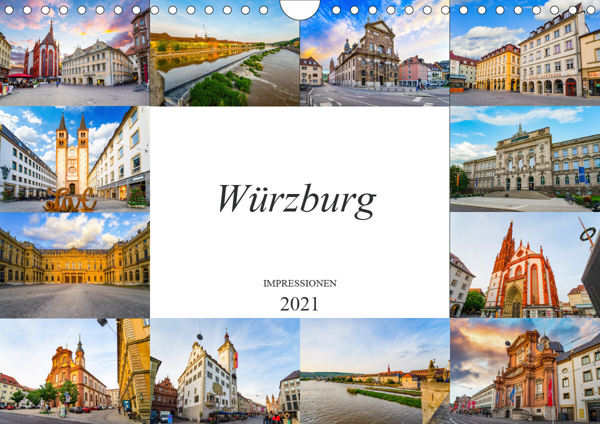 Würzburg Impressionen (Wandkalender 2021 DIN A4 quer)