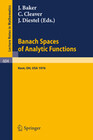 Banach Spaces of Analytic Functions.