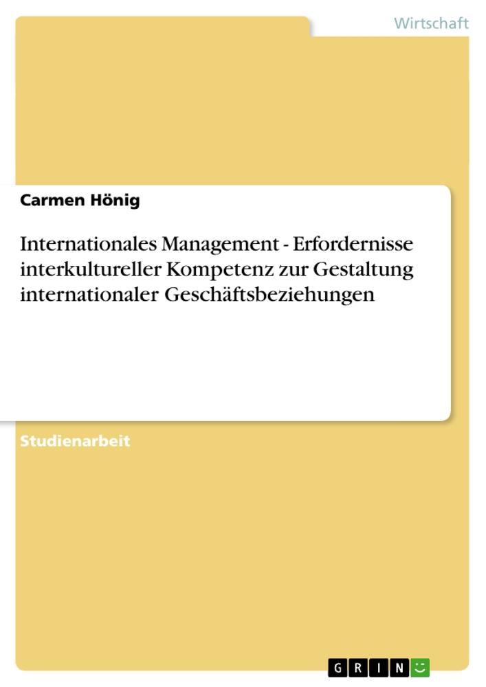 Internationales Management - Erfordernisse inte...