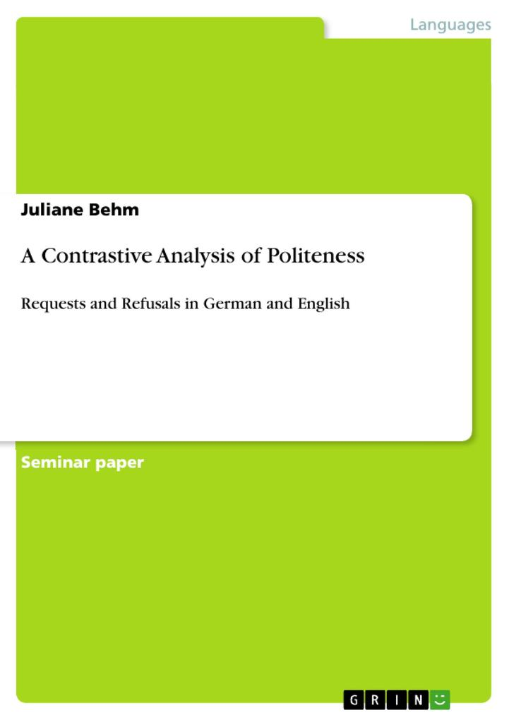 A Contrastive Analysis of Politeness als Buch von Juliane Behm