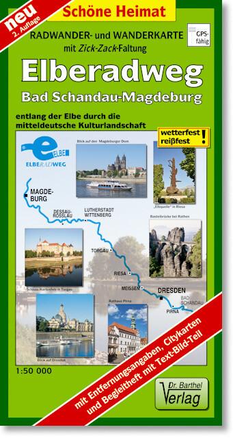 Radwanderkarte Elberadweg Bad Schandau - Magdeburg 1 : 50 000 als Blätter und Karten