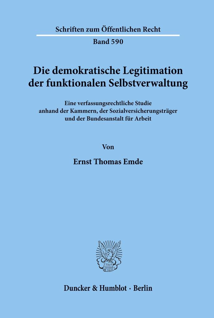 Die demokratische Legitimation der funktionalen...