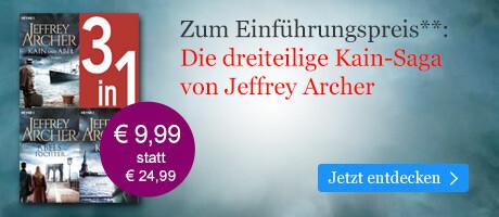 Zum Einführungspreis: Jeffrey Archer, Die Kain-Saga 1-3 bei eBook.de