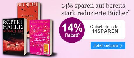 14% sparen auf bereits stark reduzierte Bücher
