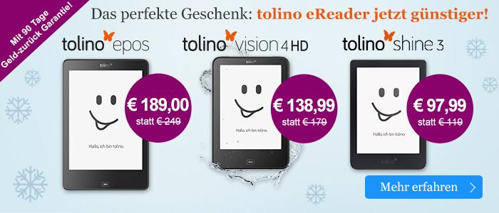 Die tolino eReader zum Bestpreis bei eBook.de entdecken