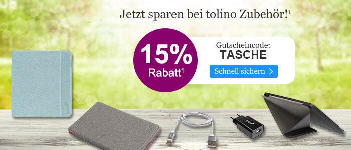 Jetzt 15% Rabatt auf tolino Zubehör sichern bei eBook.de mit dem Gutschein TASCHE