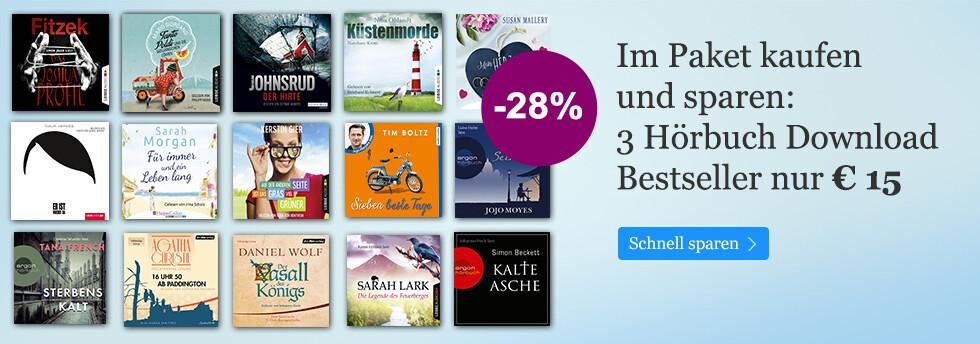 3 Hörbuch Downloads im Paket nur 15 EUR bei eBook.de - bis zu -28% sparen!