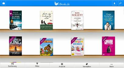 Die eBook.de Lese-App für Android - Bibliotheksansicht. quer